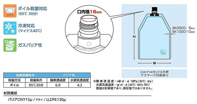 透明16口径キャップ袋500ml 150×270 500枚