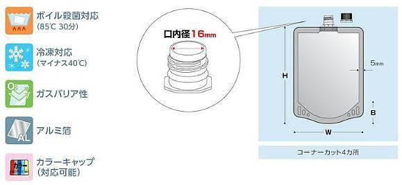 アルミ16口径キャップ袋300ml 110×180+33.5 600枚