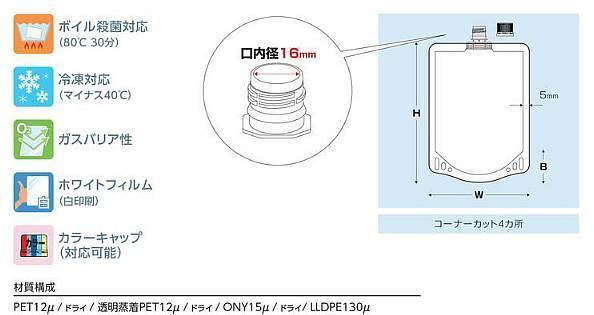白色16口径キャップ袋700ml 130×250+38 600枚
