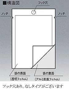 フック穴表透明裏アルミ袋 0.062×230×330 2,000枚