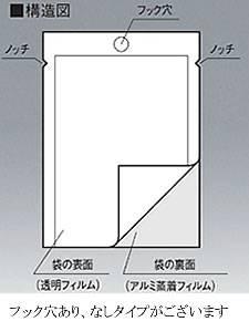 フック穴表透明裏アルミ袋 0.062×260×400 1,500枚