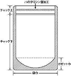 ミシン目アルミスタンド 0.099×100×160+30